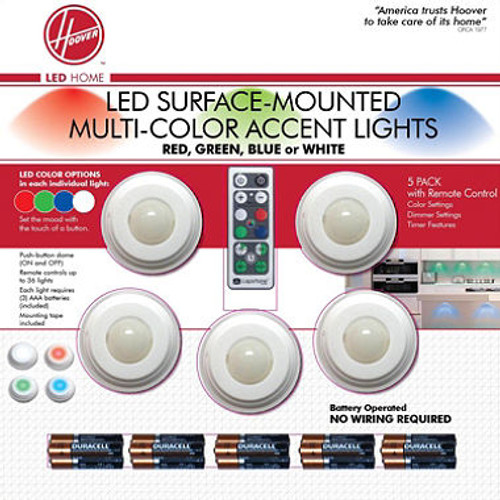 Hoover Multi-Color LED Accent Lights with Remote Control (5 pack) (H1403-080504)