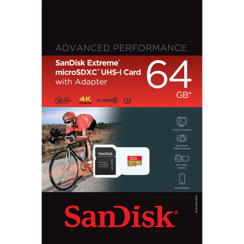 SanDisk 64GB Extreme microSDXC UHS-I Card with Adapter