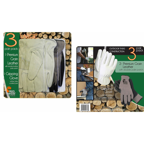 MidWest Gloves & Gear Men's Gripping Gloves, 3 pk. - Assorted (P17P03-EA-BJ-10 )