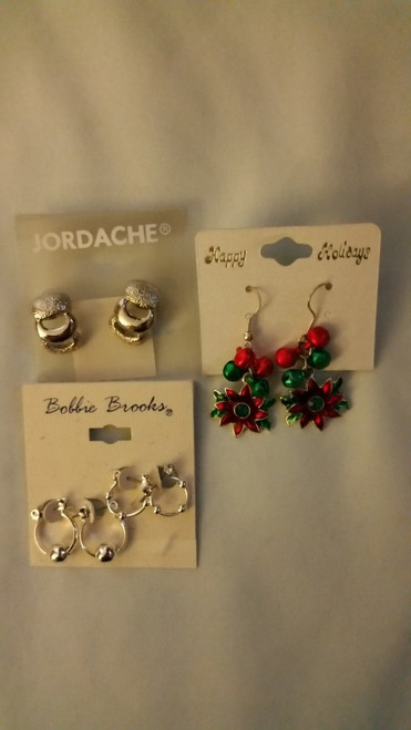 Jordache, Bobbie Brooks,Happy Holidays Earrings Buy the Lot of 3