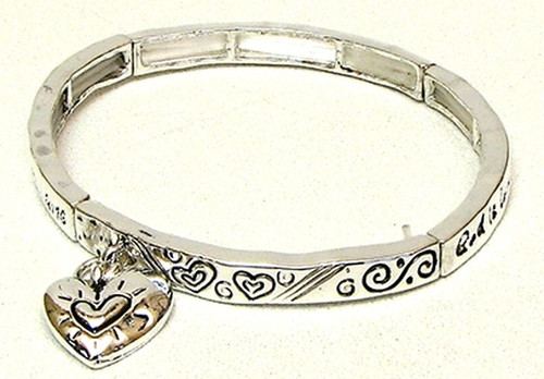 Stackable Stretch Bangle Heart Charm (015-2731 iw)
