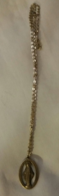 "Vintage 10"" Silver Like Chain with Holy Metal (Mary Conceive) (v10hmmc)"