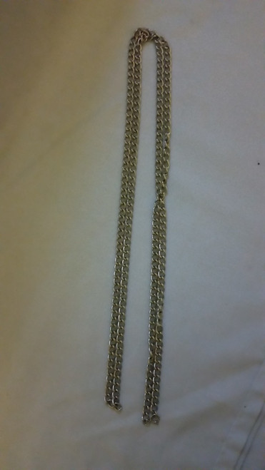 "Vintage Bright silver like 50"" Chain Necklace"