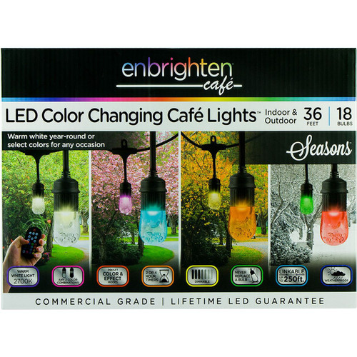 Enbrighten Seasons LED Color-Changing Café Lights, 36ft. 18 Bulbs ( 36632)