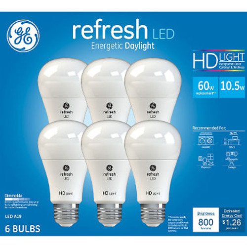 GE 60W Equivalent Daylight (5,000K) High Definition A19 Dimmable LED Light Bulb (6-Pack) (980043300)