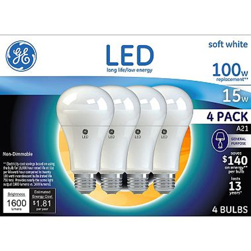 GE Soft White 100W Replacement LED Light Bulbs General Purpose A21 (4-pack ( 29923)