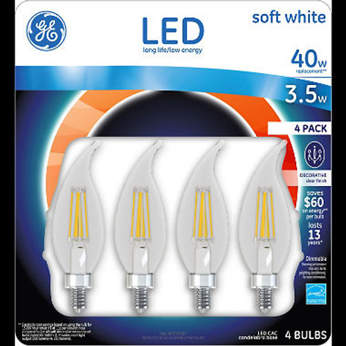 GE LED 3.5W Clear Finish Decorative Small Base Light Bulb (99647)