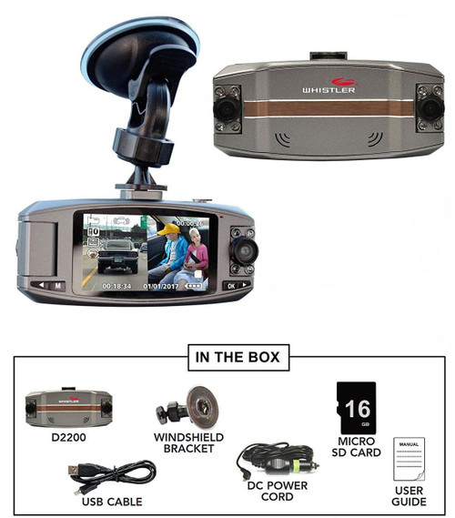 Whistler HD Automotive Digital Video Recorder D2200 Dual Lens Dash Camera (D2200)