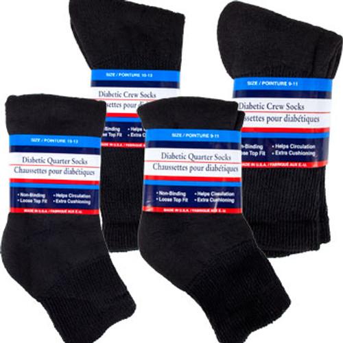 Diabetic Black Quarter-Length and Crew Socks Dozen Deals (205720)