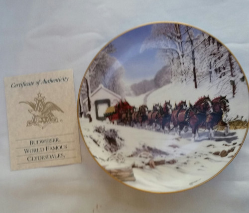 "BUDWEISER BEER 1989 ""WINTER'S DAY"" CHRISTMAS COLLECTOR PLATE (10416)"