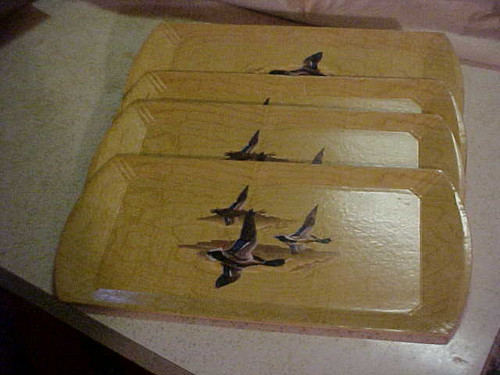 Genuine Hasko Trays Flying Ducks set of 4 -Collectible (168)