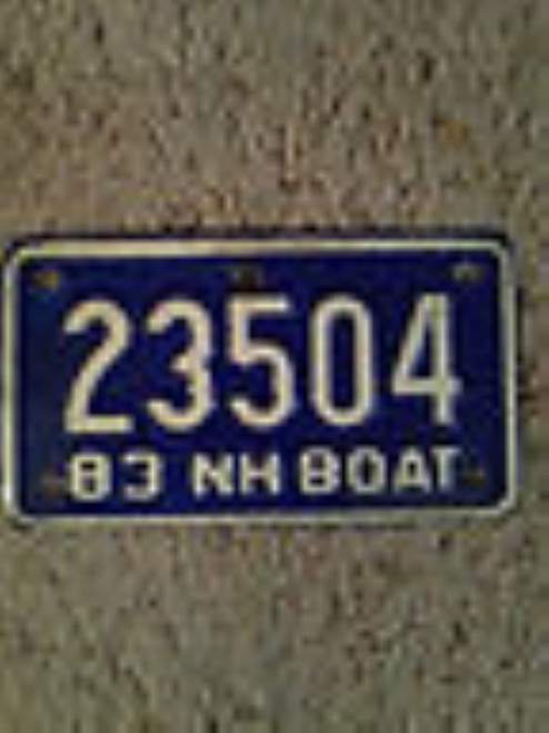 Collectible Vintage NH Boat Plate