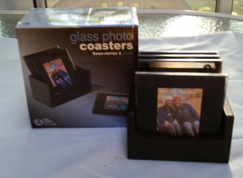 PHOTO COASTERS-4 GLASS COASTERS WITH WOOD HOLDER (050122629009)