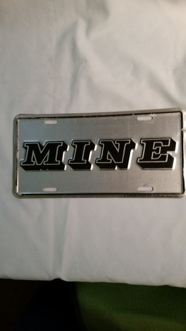 "Vanity License Plate ""MINE"""