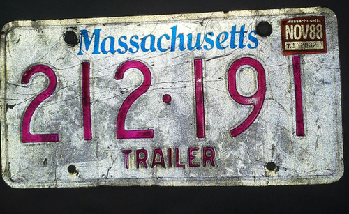 Vintage Collectible Ma Trailer Plate (212191)