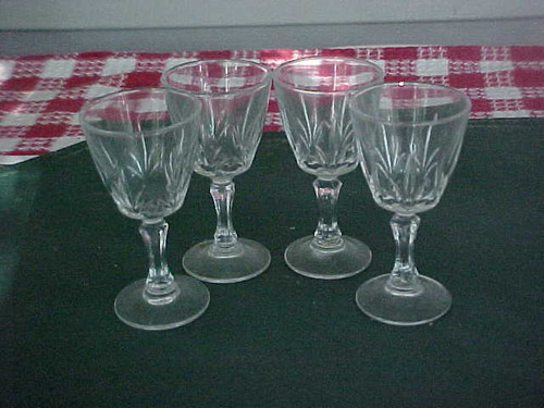 Vintage Cut Glass Cordial Glasses Set of 3