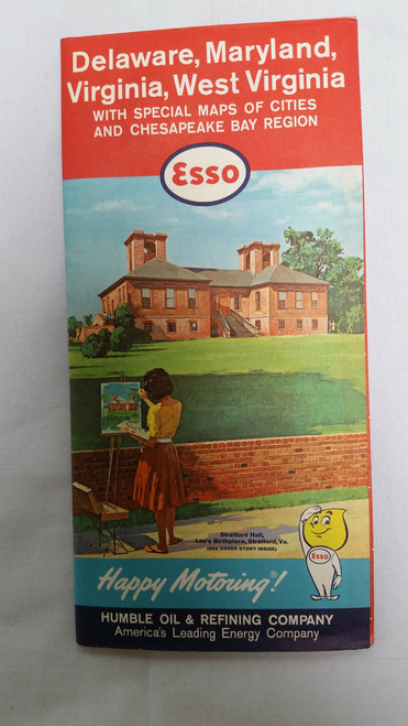 Vintage Esso Delware Maryland Virgina West Virgina with Special Maps of cities and Chesapeake Bay Region