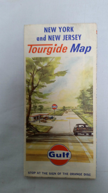 Vintage Gulf Tour Guide Map New York and New Jersey​ (1960 m)