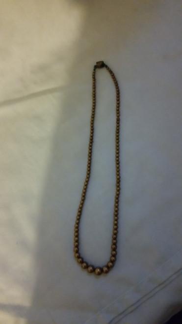 Vintage Satin Gold Pearl Like Necklace