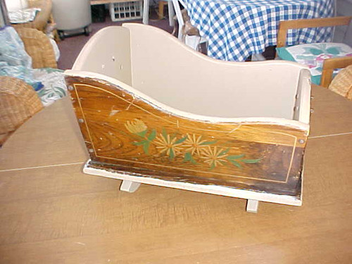 Vintage Wood Decorated Toy Cradle (131415/22)