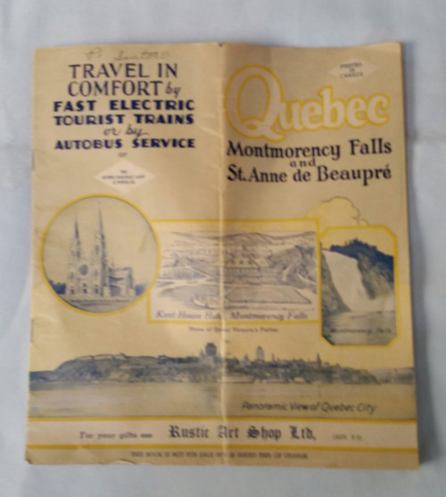 Vintage Quebec Brochure, Montmorency Falls, Travel, Advertisements, Canada, 24pg