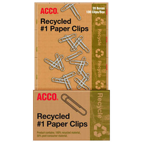 ACCO Recycled Standard Paper Clips - 100 per Box - 20 Boxes (A7072712)
