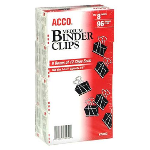 Acco - Binder Clips, Medium - 12 Per Box - 8 Boxes - 96 Total Clips
