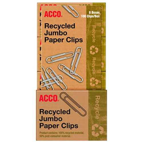 ACCO Recycled Jumbo Paper Clips - 100 per Box - 8 Boxes (A7072715)