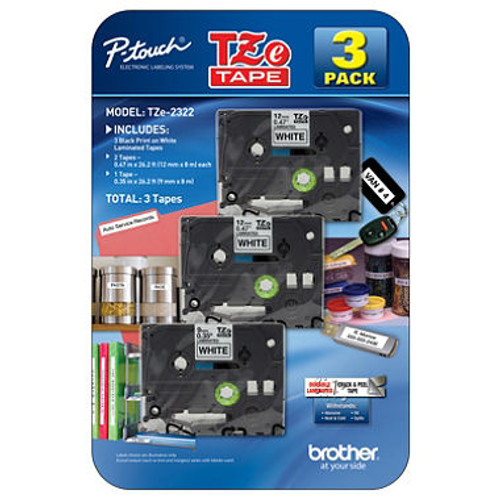 Brother P-Touch - Label Tape Assorted Pack - (2) TZe231 & (1) TZe221 ( TZE2322)