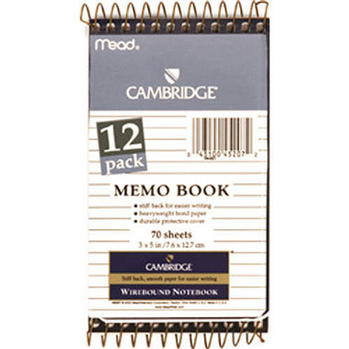 Cambridge Memo Books - 12 Pack of 70 Sheet Books (45207)