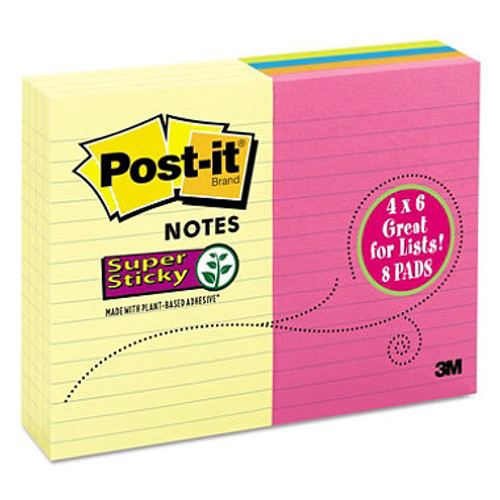 "Post-it Super Sticky Notes, 4"" x 6"", 8 pads, 800 Total Sheets (10928)"
