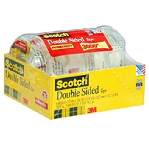 "Scotch Double Sided Tape, 1/2"" x 500"", 6pk. ( 6137H-2PC-MP)"