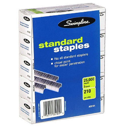 Swingline Standard Staples - 5 Boxes of 5,000 Staples (S7035101S)