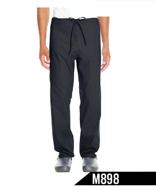 Our comfortable scrub pant has a smooth, professional look.  4.2 oz, 65/35 poly/cotton Dyed-to-match drawstring Reversible construction. Back pocket on both sides