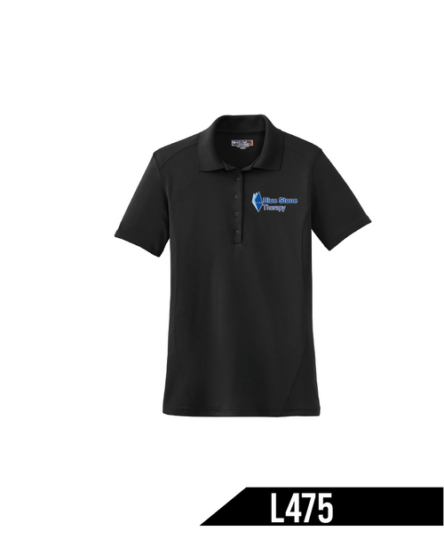 Known for superior breathability, these polos not only wick moisture, they minimize odor.  3.9-ounce, 100% polyester mini pique Tag-free label Flat knit collar 5-button placket Dyed-to-match buttons Double-needle sleeves and hem Set-in sleeves with raglan accent Princess seams in front and back