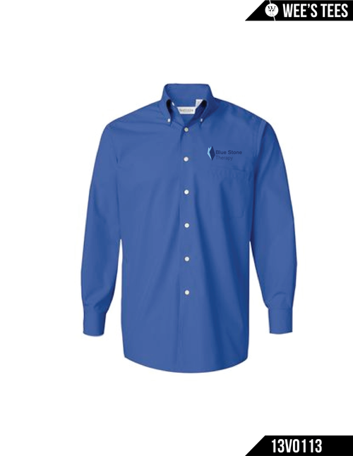 3.4 oz., 60/40 cotton/polyester Wrinkle-free Button-down soft-fused collar Left chest pocket Single-needle stitched armholes Double-needle stitched felled side seams Button-through sleeve plackets Two pearlized buttons on adjustable cuffs Back box pleat