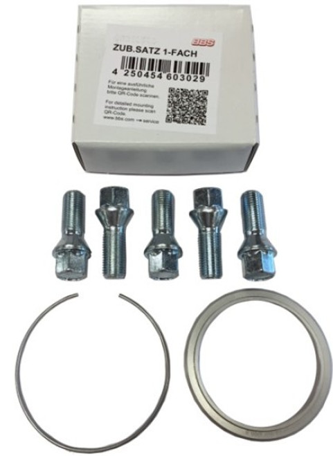 BBS PFS KIT - Audi - Includes 82mm OD - 66.5mm ID Ring / 82mm Clip / Lug Bolts