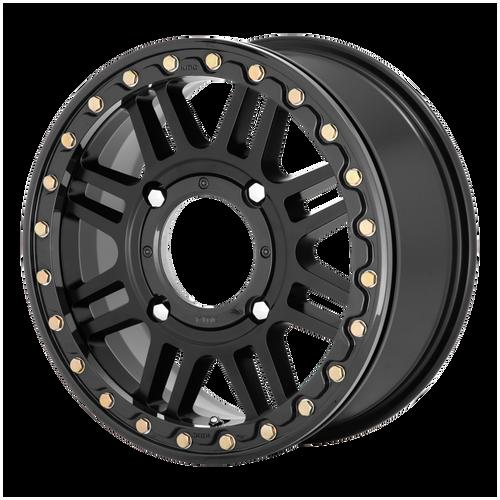 Kmc Atv KS250 CAGE BEADLOCK 15X10 00MM 4x156 SATIN BLACK W/ GLOSS BLACK RING KS25051044700