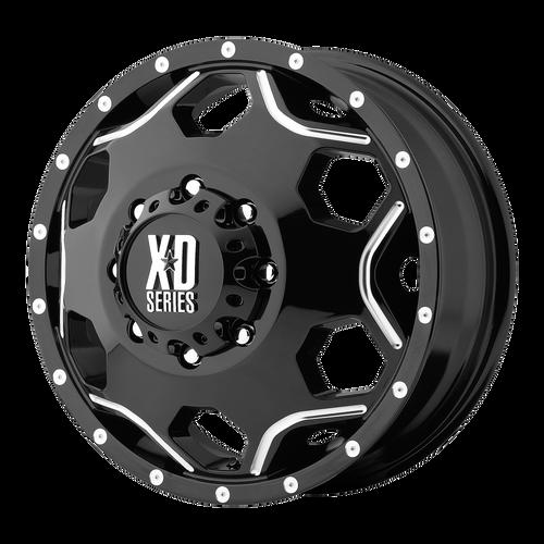 Xd XD814 CRUX 17x6 -134MM 8x165.1 DUALLY GLOSS BLACK W/ MILLED ACCENTS XD81476080394N