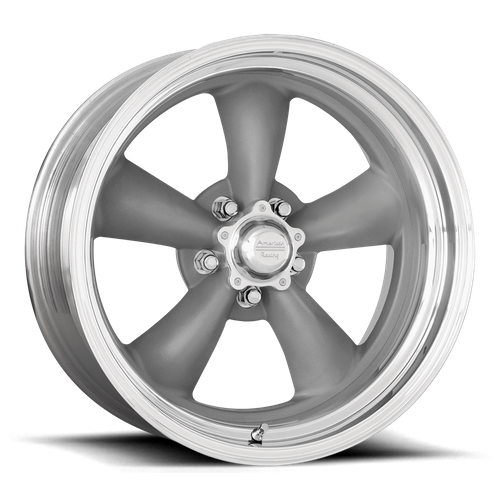 American Racing VN205 CLASSIC TORQ THRUST II 18x8 14MM 5x120 TORQ THRUST GRAY W/ POLISHED LIP VNCL205886150