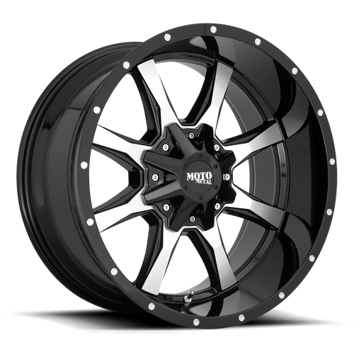 Moto Metal MO970 16x8 00MM 8x165.1 GLOSS BLACK W/ MACHINED FACE MO97068080300