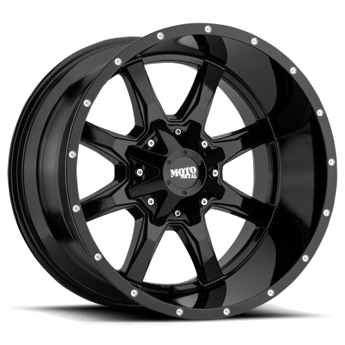 Moto Metal MO970 16x8 00MM 8x165.1 GLOSS BLACK W/ MILLED LIP MO970680803A00