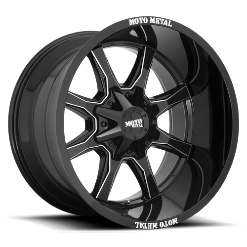 Moto Metal MO970 16x8 00MM 8x165.1 GLOSS BLACK W/ MILLED SPOKE & MOTO METAL ON LIP MO970680803B00