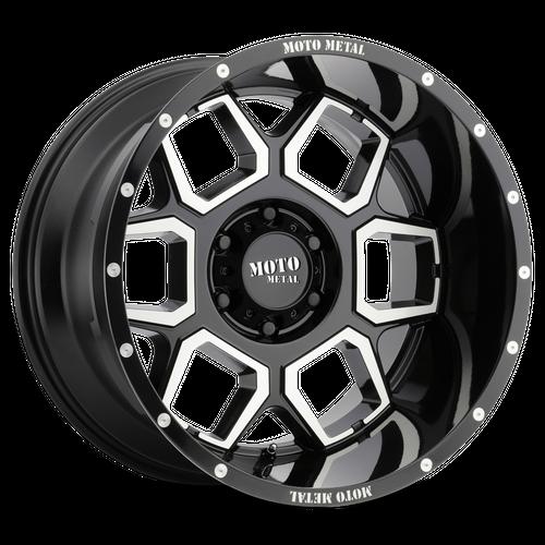 Moto Metal MO981 SPADE 20x10 -24MM 6x139.7 GLOSS BLACK MACHINED MO98121068324N