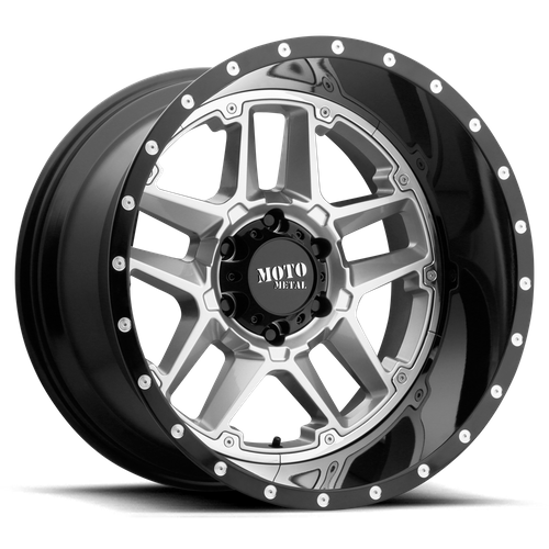 Moto Metal MO987 SENTRY 16x8 -6MM 8x165.1 GLOSS SILVER CENTER W/ GLOSS BLACK LIP MO98768080406N