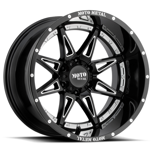 Moto Metal MO993 HYDRA 17x9 -12MM 8x165.1 GLOSS BLACK MILLED MO99379080312N