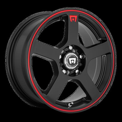 Motegi MR116 FS5 16x7 40MM 4x100/4x114.3 MATTE BLACK W/ RED STRIPE MR11667098740