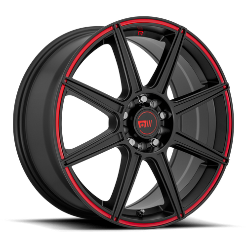 Motegi MR142 CS8 15x6.5 40MM 4x100/4x108 SATIN BLACK W/ RED STRIPE MR14256508940