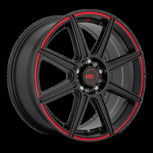 Motegi MR142 CS8 17x7 40MM 4x100/4x108 SATIN BLACK W/ RED STRIPE MR14277008940