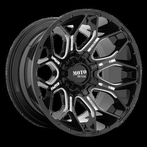 Moto Metal MO808 SNIPER 20x10 -18MM 5x139.7/5x150 GLOSS BLACK MILLED MO80821086318N